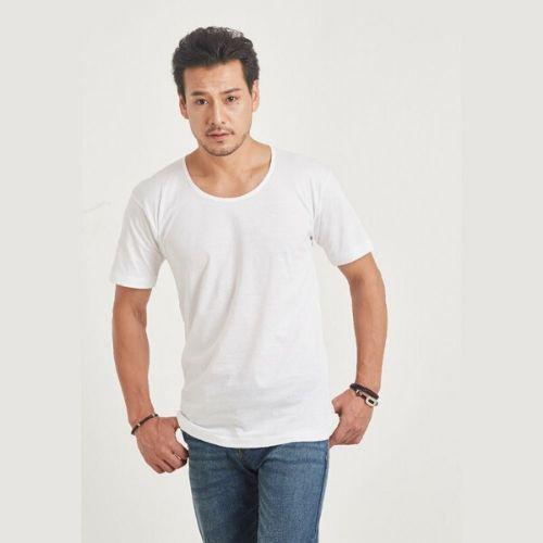 เสื้อคอกว้าง ห่านคู่คลาสสิก สีขาว Size XL เบอร์ 42