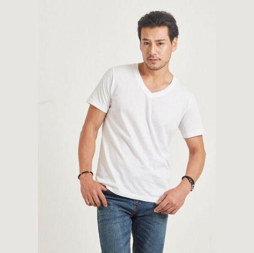 เสื้อคอวี ห่านคู่คลาสสิก สีขาว Size XL เบอร์ 42