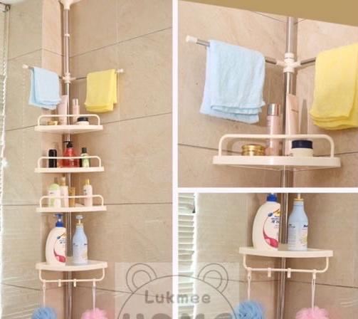 ชั้นวางของในห้องน้ำ แบบเข้ามุม สแตนเลส ไม่ต้องเจาะเพดาน ประหยัดพื้นที่ Corner shelves